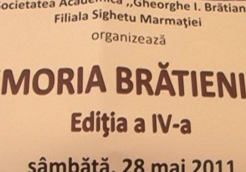 """Societatea Academica Gheorghe I. Bratianu, filiala Sighet, organizeaza sambata, 28 mai,  a IV-a editie a simpozionului """"Memoria Bratienilor"""""""