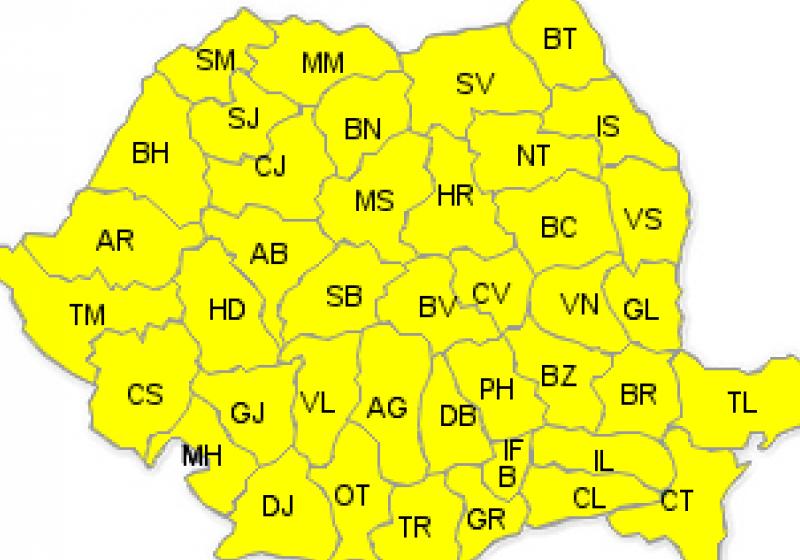 Cod galben de disconfort termic, ploi torenţiale şi vijelii pentru Maramureş
