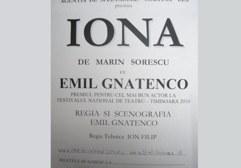 """Sighetu Marmaţiei: Agenția de spectacole """"Cortina"""" din Iași prezintă """"IONA"""" de Marin Sorescu"""