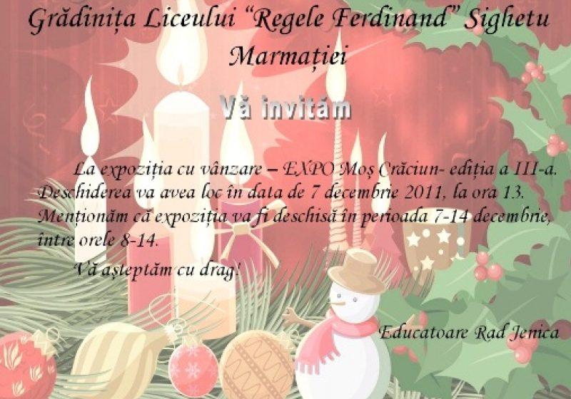 """Sighetu Marmaţiei: Grădiniţa Liceului """"Regele Ferdinand"""" vă invită la EXPO Moș Crăciun"""