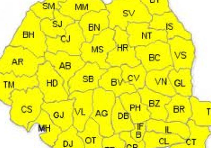 ANM: Cod Galben de ninsori abundente, viscol şi polei pentru întreaga ţară, începând de vineri dimineaţă