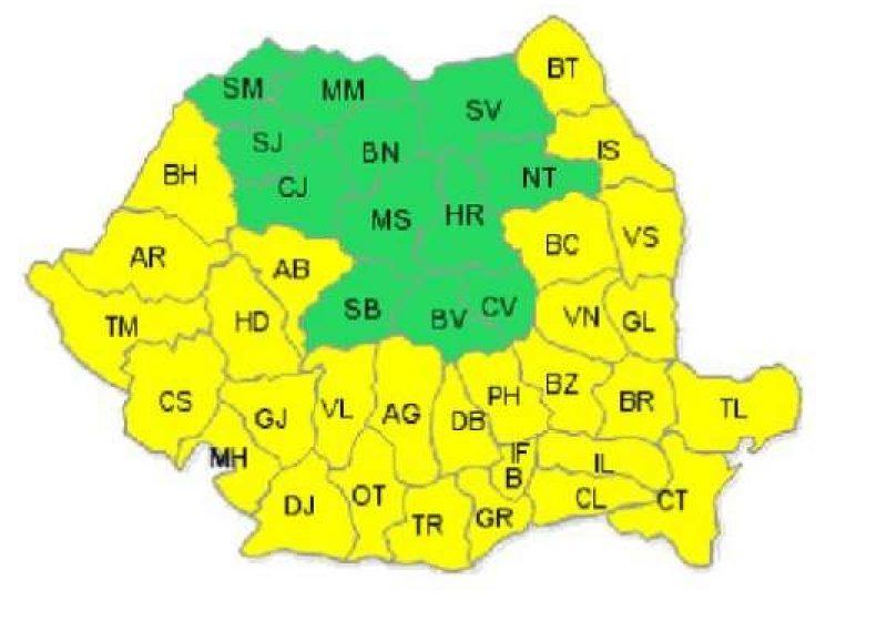Cod galben de caniculă pentru 29 de judeţe şi municipiul Bucureşti, până marţi