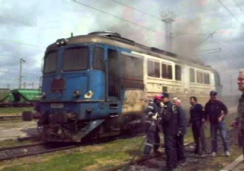 112: Incendiu la locomotiva unui tren, în gara Ilba