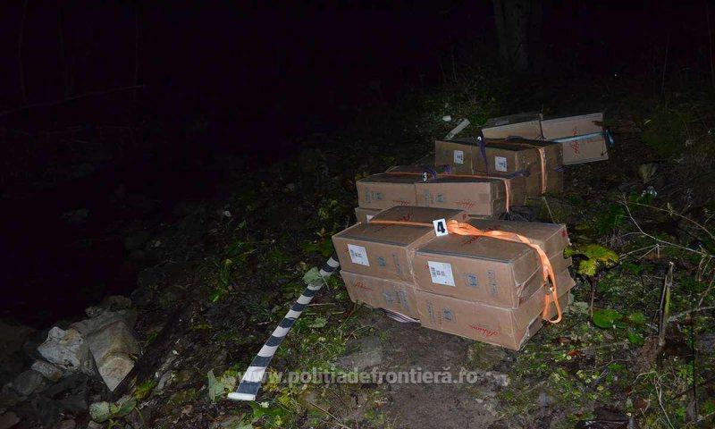 CONTRABANDĂ: Peste 18.000 de pachete de țigări ucrainene găsite de polițiștii de frontieră