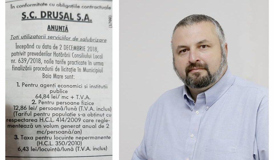 """Dan Ivan, președinte USR Maramureș, reacție dură la majorarea prețului pentru salubrizare menajeră: """"Nu-i luați pe băimăreni de fraieri pentru a face profit firmei """""""