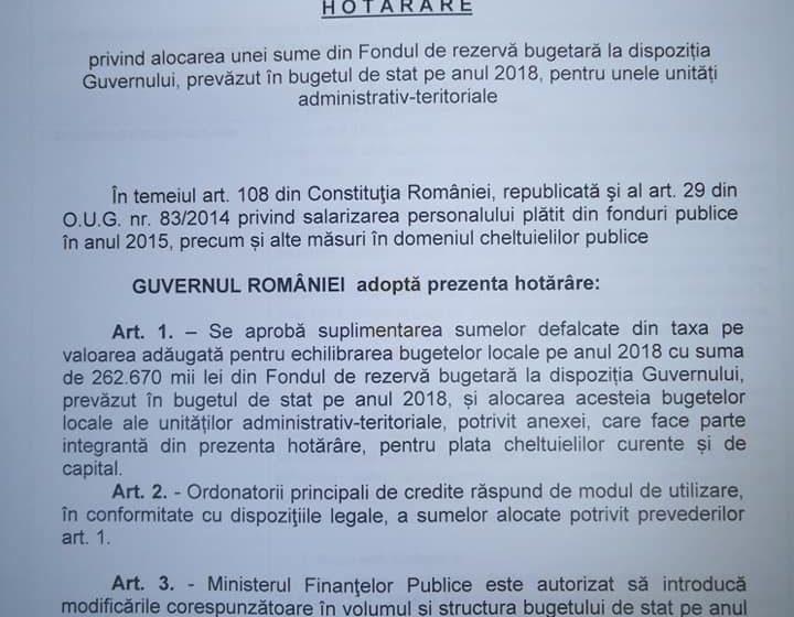 Guvernul României a alocat, la final de an peste 16 milioane de lei primăriilor din Maramureș