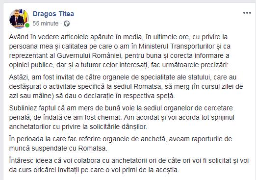 VIDEO | Secretarul de stat Dragoş Titea, precizări pe subiectul situaţiei de la Romatsa