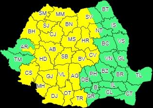 Cod galben în Maramureş: Averse cu caracter torenţial, descărcări electrice, intensificări ale vântului cu aspect de vijelie