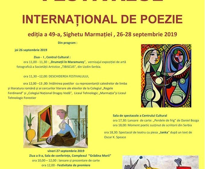 Joi, 26 septembrie a debutat cea de-a 49-a ediție a Festivalului Internațional de Poezie la Sighetu Marmație