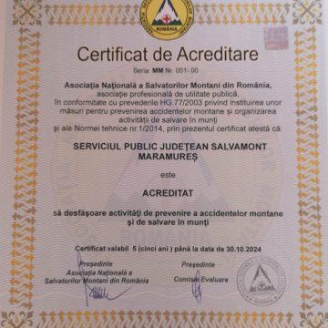 Salvamont Maramureș, acreditat să desfășoare activități de prevenire a accidentelor montane și de salvare în munți