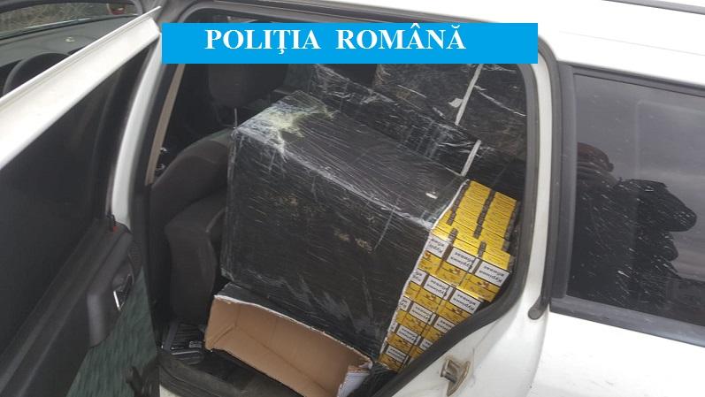 Contrabandist reţinut după o urmărire în trafic. 165.000 de ţigarete confiscate