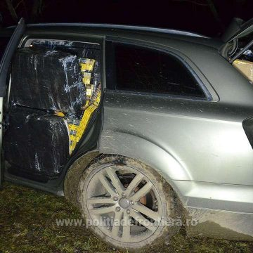Urmărire în trafic: contrabandistul a scăpat, dar a lăsat în urmă țigări de 228.000 de lei și o mașină de 48.000 de lei