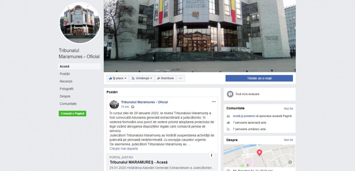 VIDEO | Tribunalul Maramureș și-a făcut pagină de Facebook