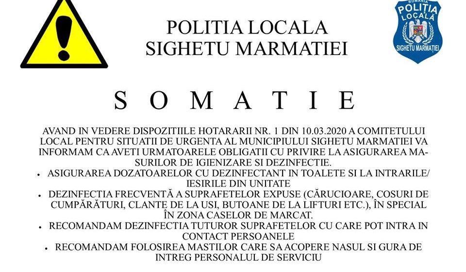 Dispoziții ale Poliției Locale a municipiului Sighetu Marmației în vederea prevenirii răspândirii virusului Covid-19