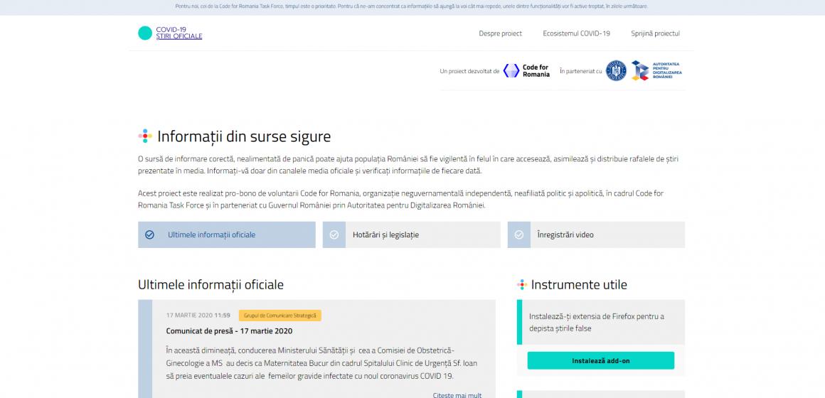 VIDEO | S-a lansat platforma online COVID-19 Știri Oficiale
