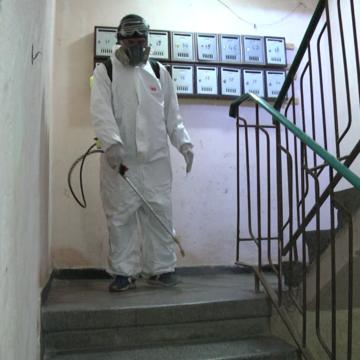 VIDEO | A început dezinfectarea scărilor de bloc în Sighet