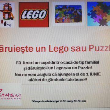 VIDEO | De 1 Iunie, fă fericit un copil dintr-o casă de tip familial și dăruiește un puzzle, un lego sau o carte