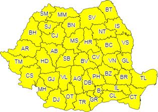 Un nou cod galben de vreme rea a fost emis pentru Maramureș și alte județe din țară