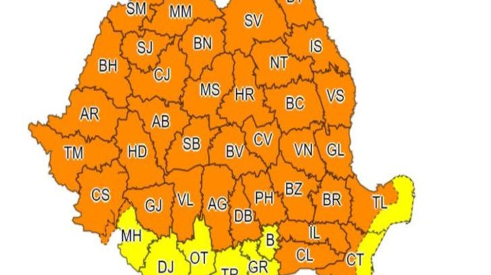 Un nou Cod Portocaliu de vreme rea emis pentru Maramureș și alte județe din țară