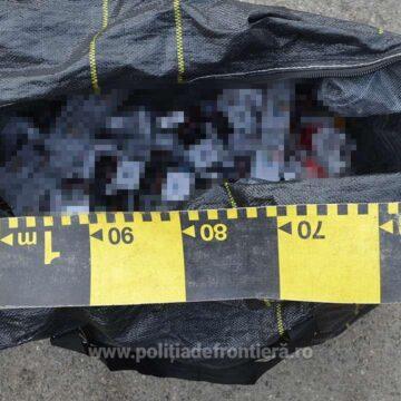 Țigări de contrabandă confiscate de polițiștii de frontieră în cooperare cu lucrători din cadrul Postului Comunal de Poliție Bârsana