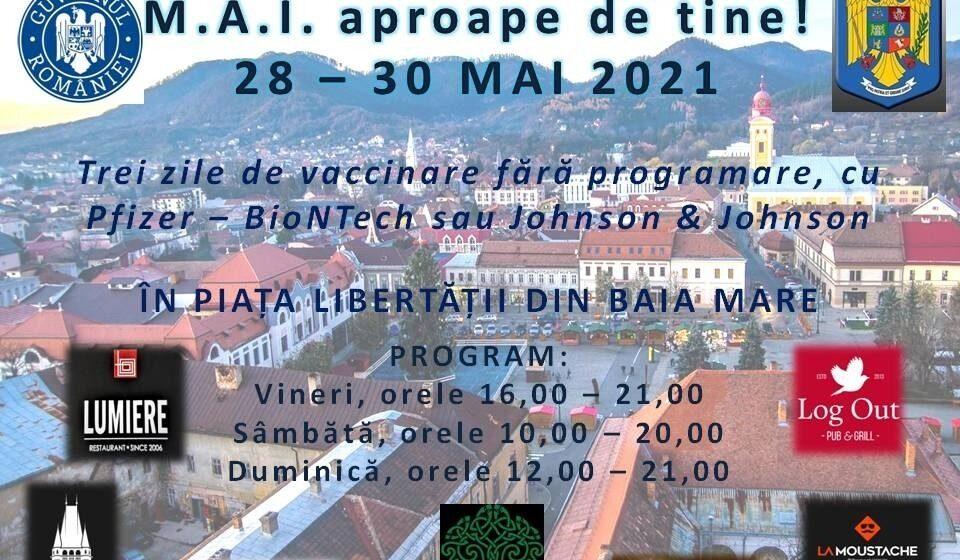"""VIDEO   Maraton de Vaccinare """"M.A.I. aproape de tine!""""în Piața Libertății din municipiul Baia Mare"""
