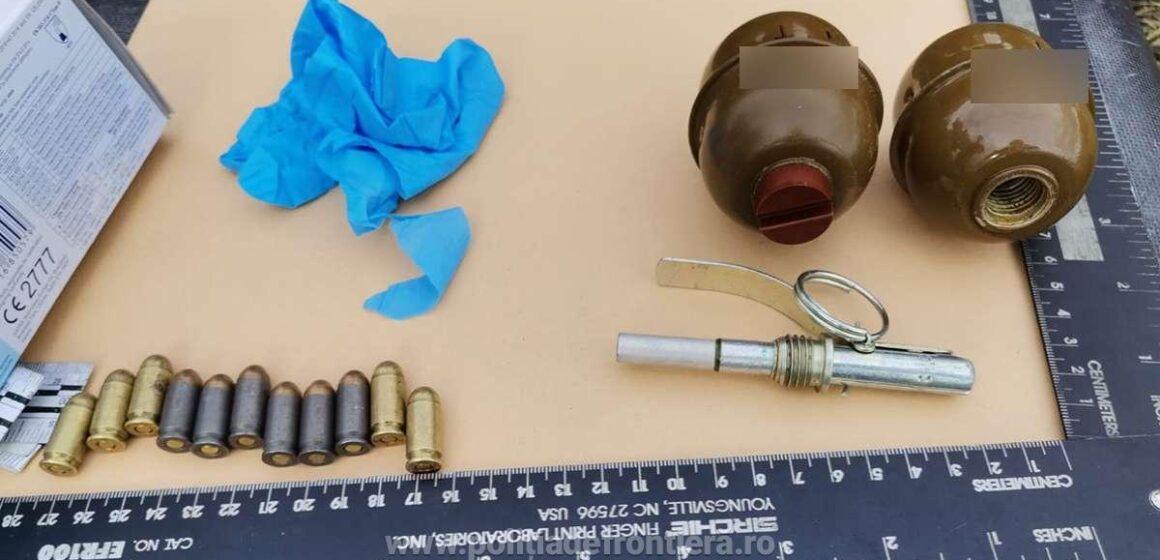 Video | Contrabandist de țigări prins cu două grenade, plus niște cartușe