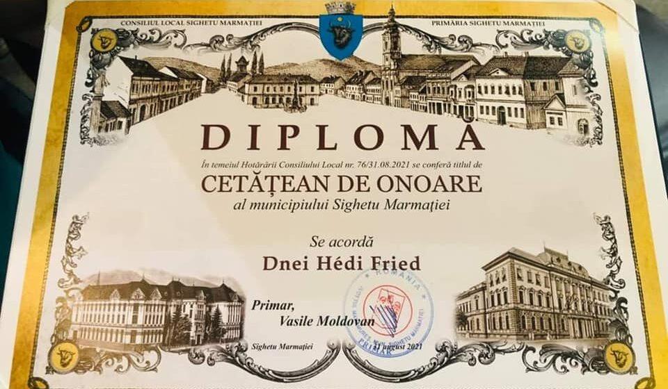 Hédi Fried a primit titlul de Cetățean de onoare al municipiului Sighetu Maramației