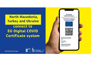 Certificatul digital european poate fi folosit și în Macedonia de Nord , Turcia  și Ucraina